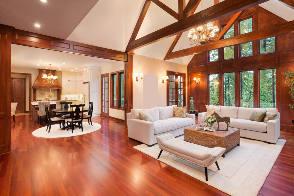 Large living room featuring cherry floors.